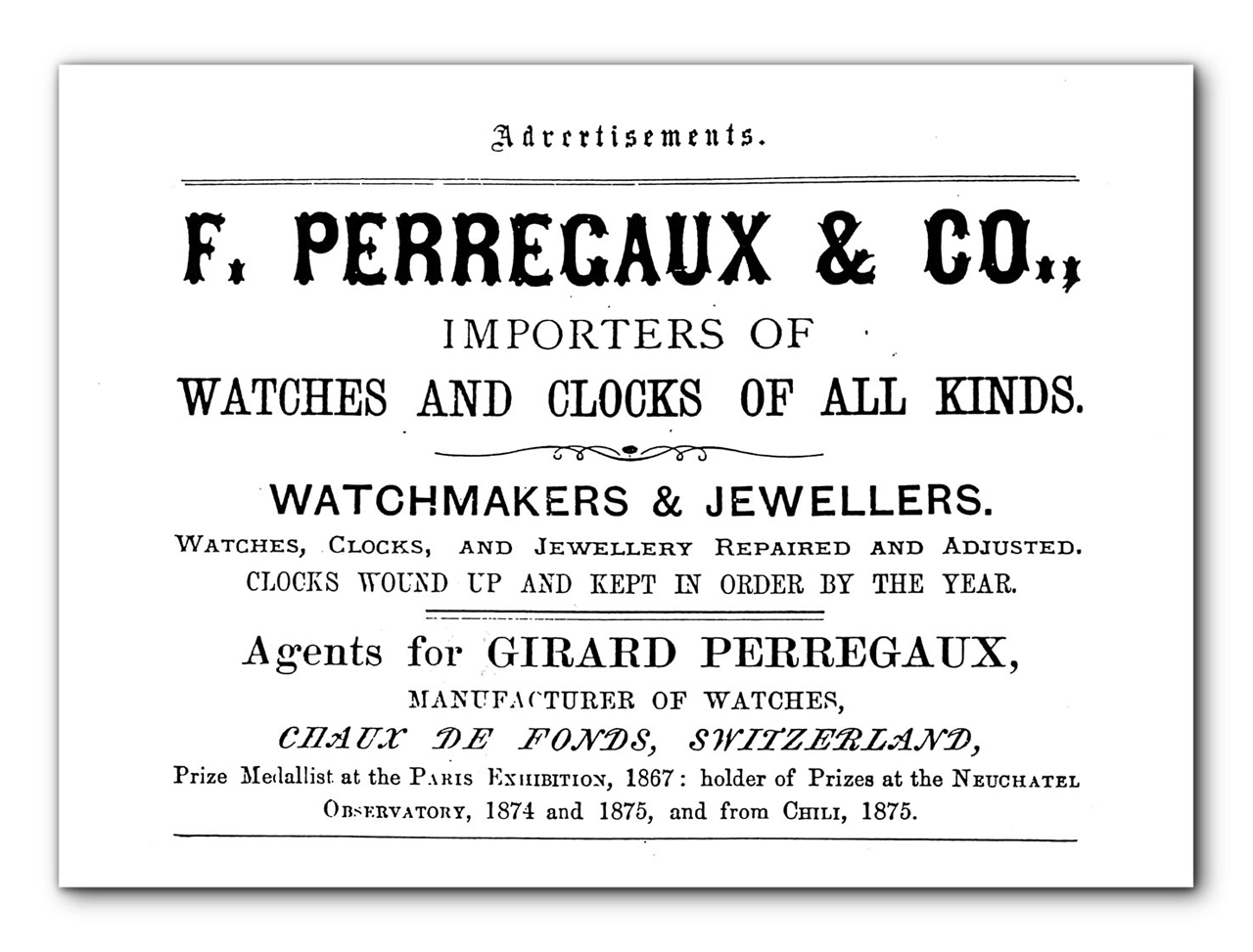 "Anuncio de Girard-Perregaux en ""The Japan Gazette"" - 1 de enero de 1877."