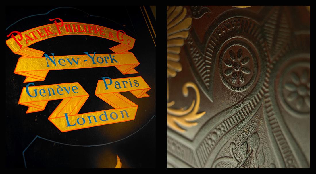 Caja fuerte de Tiffany en los Salones Patek desde 1876 y de los cueros de Córdoba que cubren las paredes