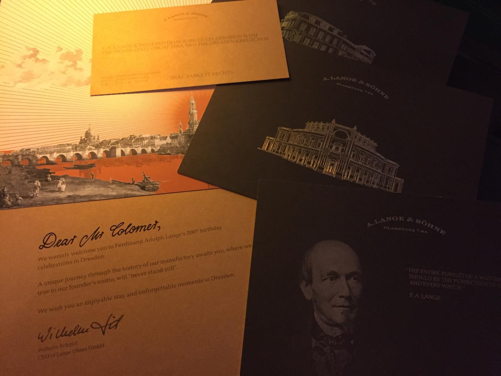 200 Aniversario F A Lange Invitaciones 2