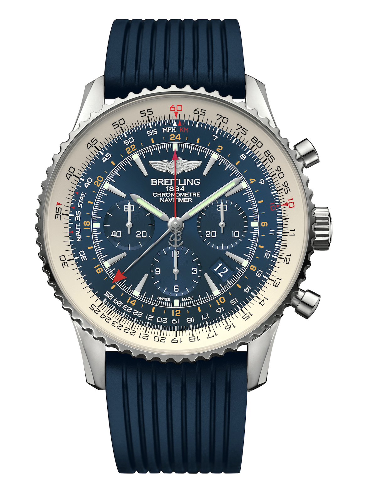 Navitimer GMT Aurora Blue - front - front