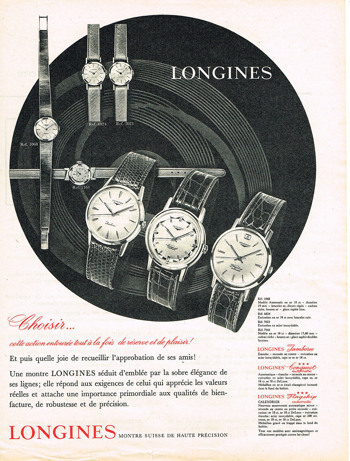 Publicidad Longines Flagship 1961