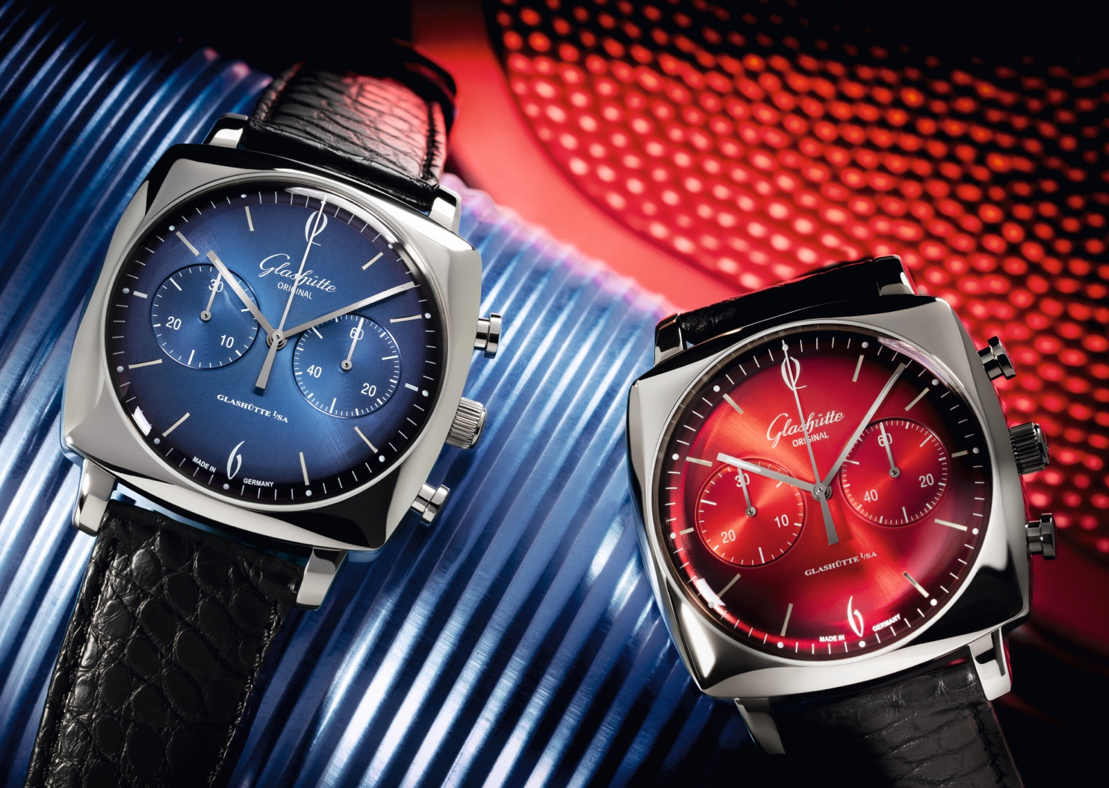Glashutte Original Sixties Iconic Square Collection Ocean Fire