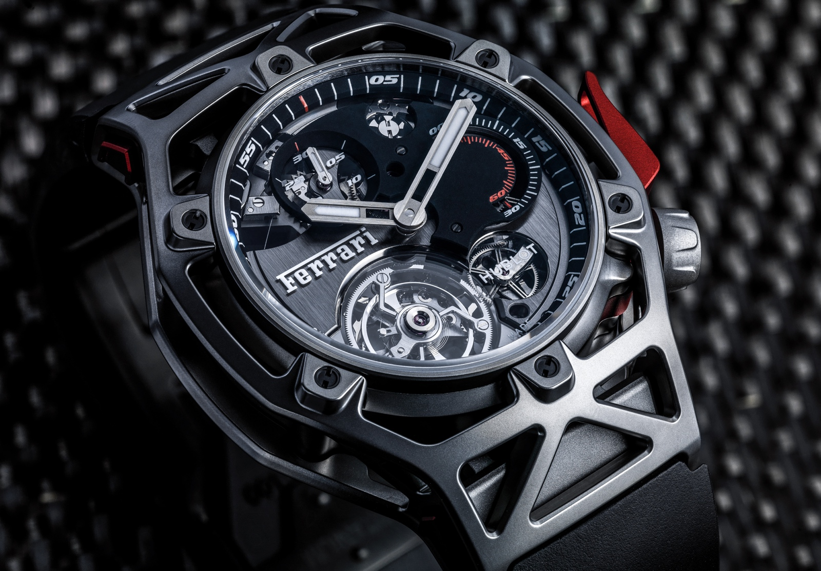Hublot en Baselworld 2017 - Techframe Ferrari 70 years Tourbillon Chronograph - titanium