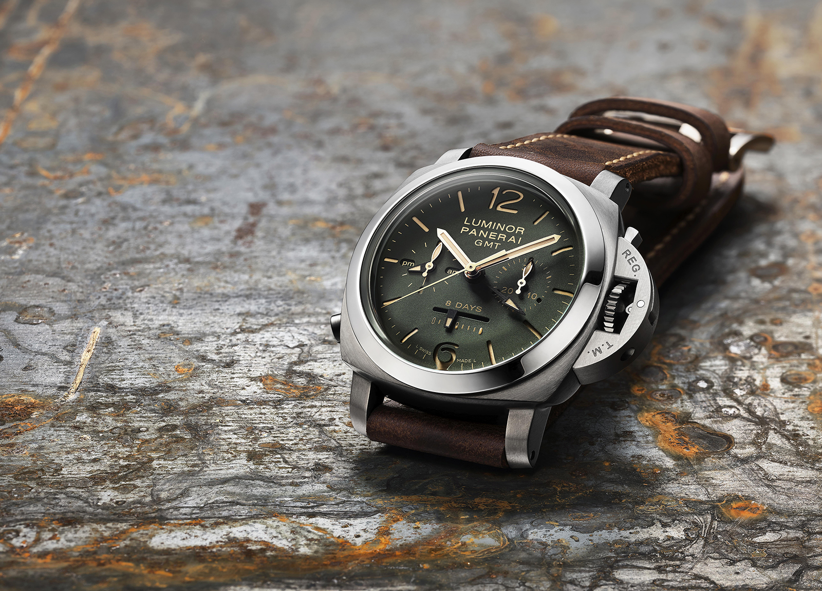 Panerai Luminor 1950 Chrono Monopulsante 8 Days GMT Green Dial - 44 mm - PAM737