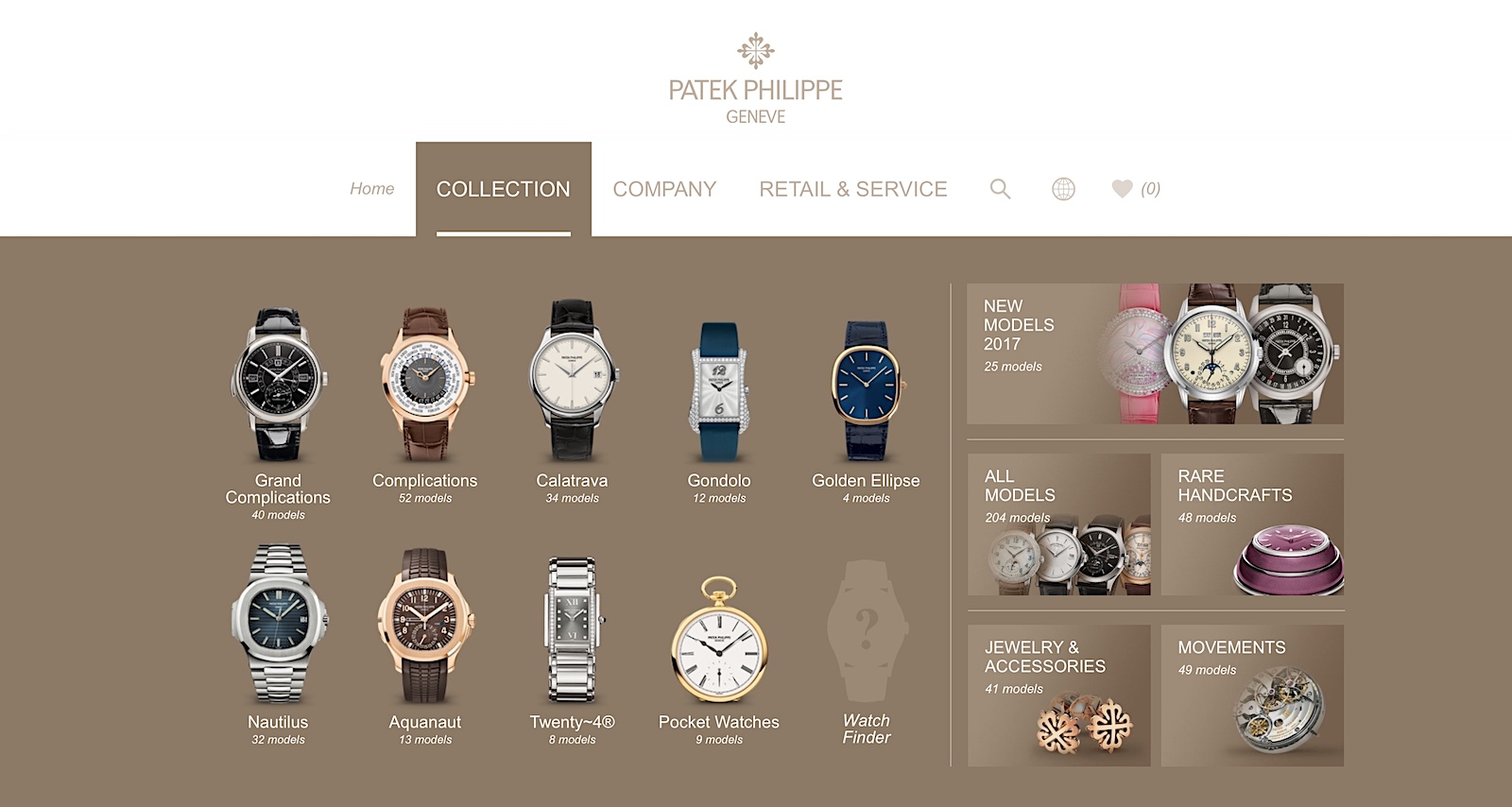 Nueva web de Patek Philippe - Collection