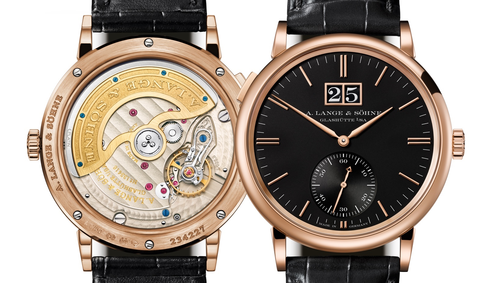 A. Lange & Sohne Saxonia Outsize Date Red Gold