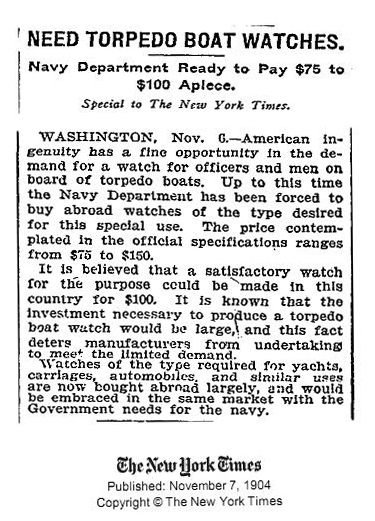 Ulysse Nardin Marine Torpilleur Military US Navy - New York Times announcement for the washington naval observatory competition, november 7 1904