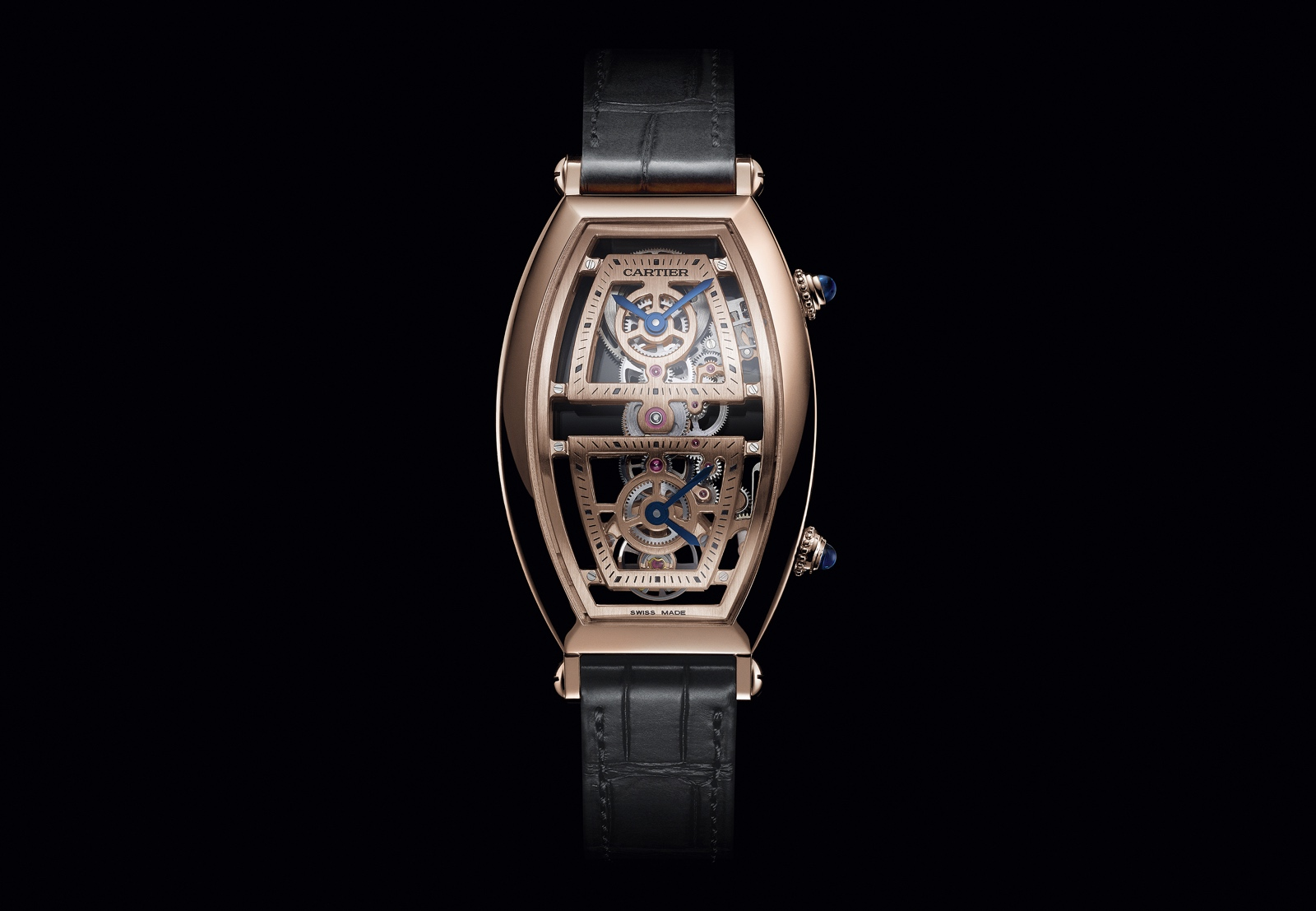 Cartier Privé Tonneau - Skeleton Dual Time Zone rose gold MC