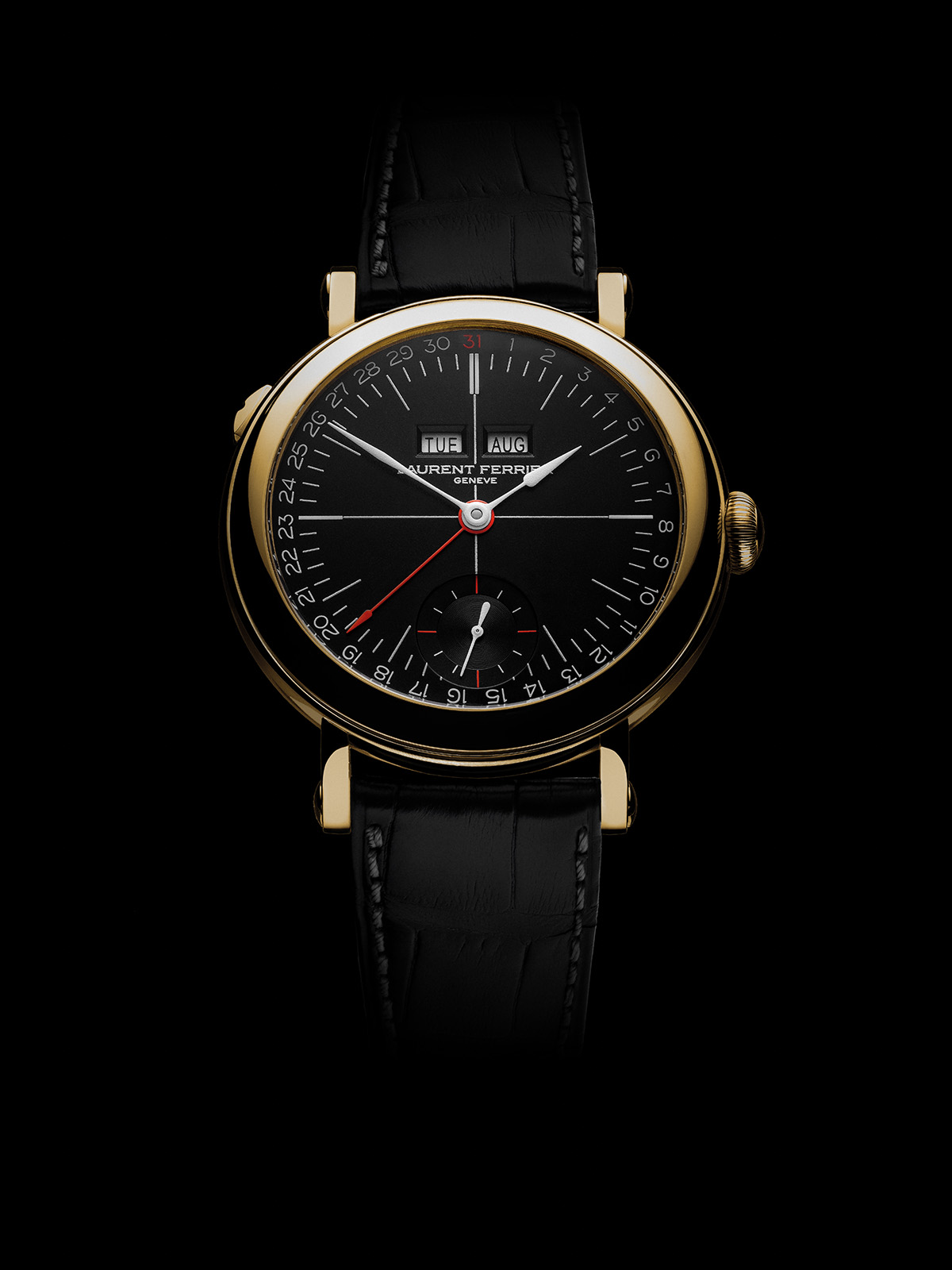 Laurent Ferrier Annual Calendar School Piece Opaline Black & White