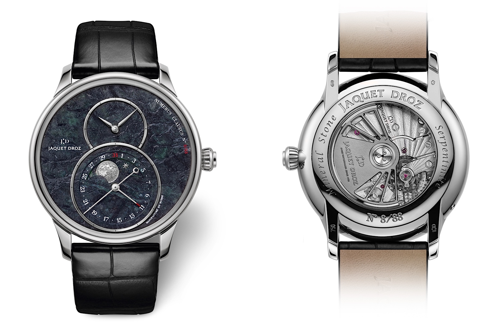 Jaquet Droz Grande Seconde Moon Swiss Serpentinite - front:back