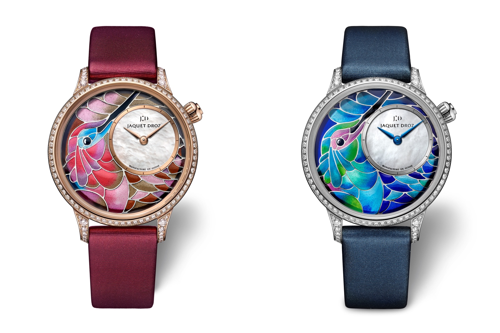 Jaquet Droz en el Time to Move 2019 - Petite Heure Minute «Smalta Clara Hummingbird» duo