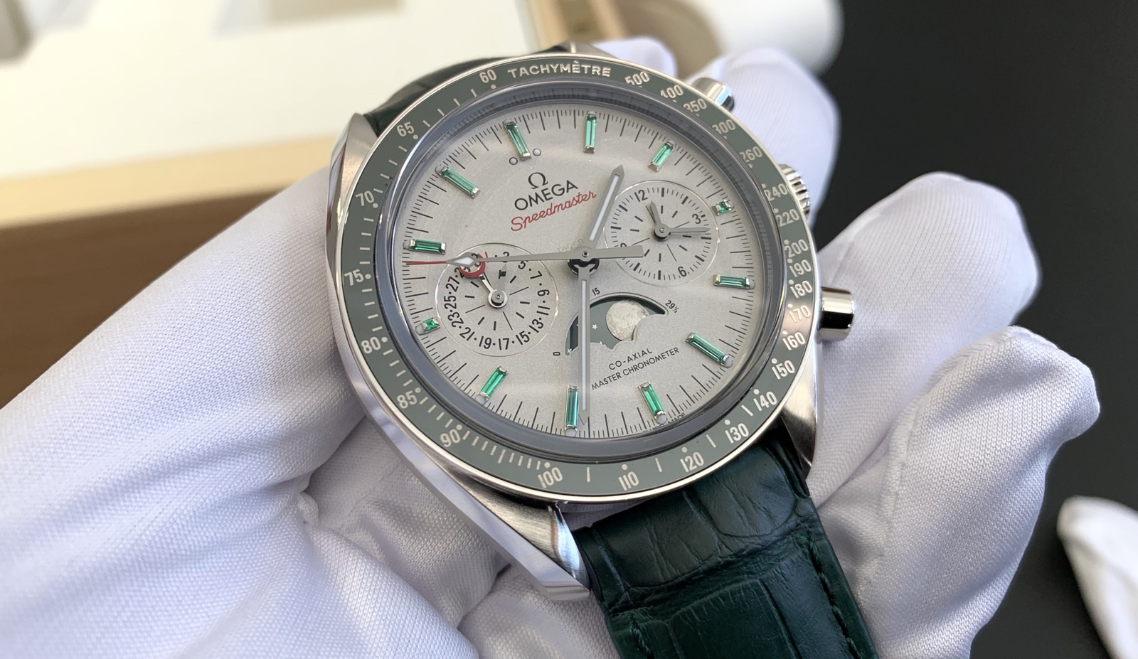 Omega Speedmaster Moonphase Platinum-Gold Green