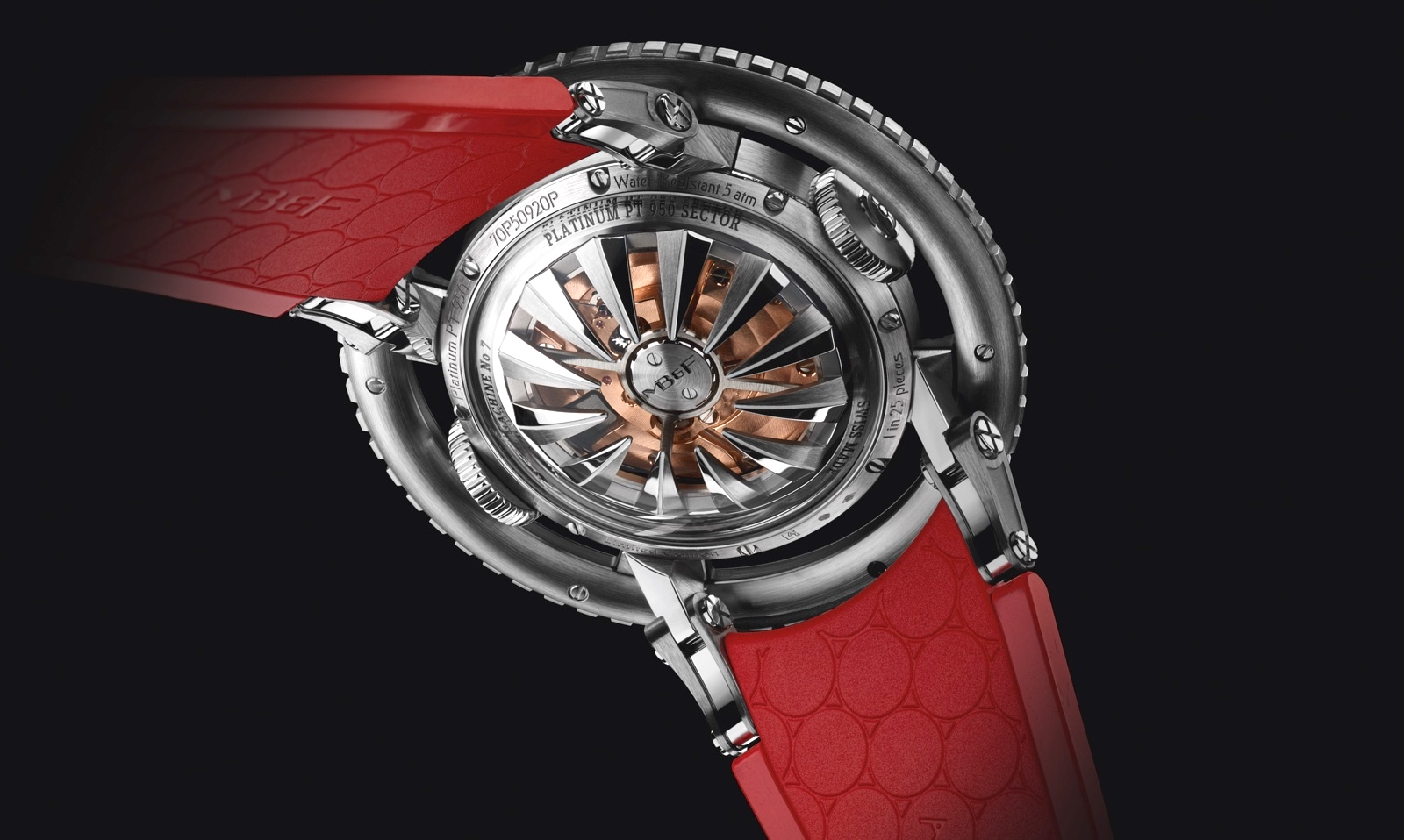 HM7 Aquapod Platinum Red Caseback