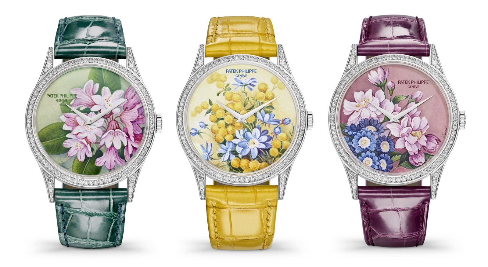 "Patek Philippe Singapore 2019 Rare Handcrafts - 5077/100G-035-036-037 ""Portraits of Flowers"""