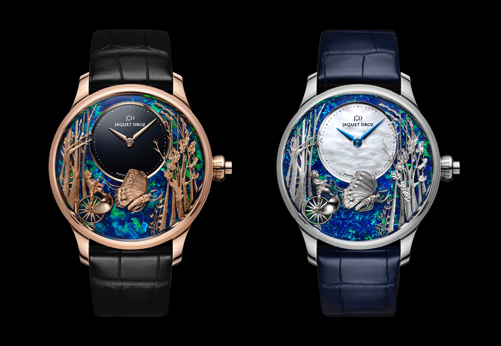 Jaquet Droz Loving Butterfly Automaton Opal- duo black