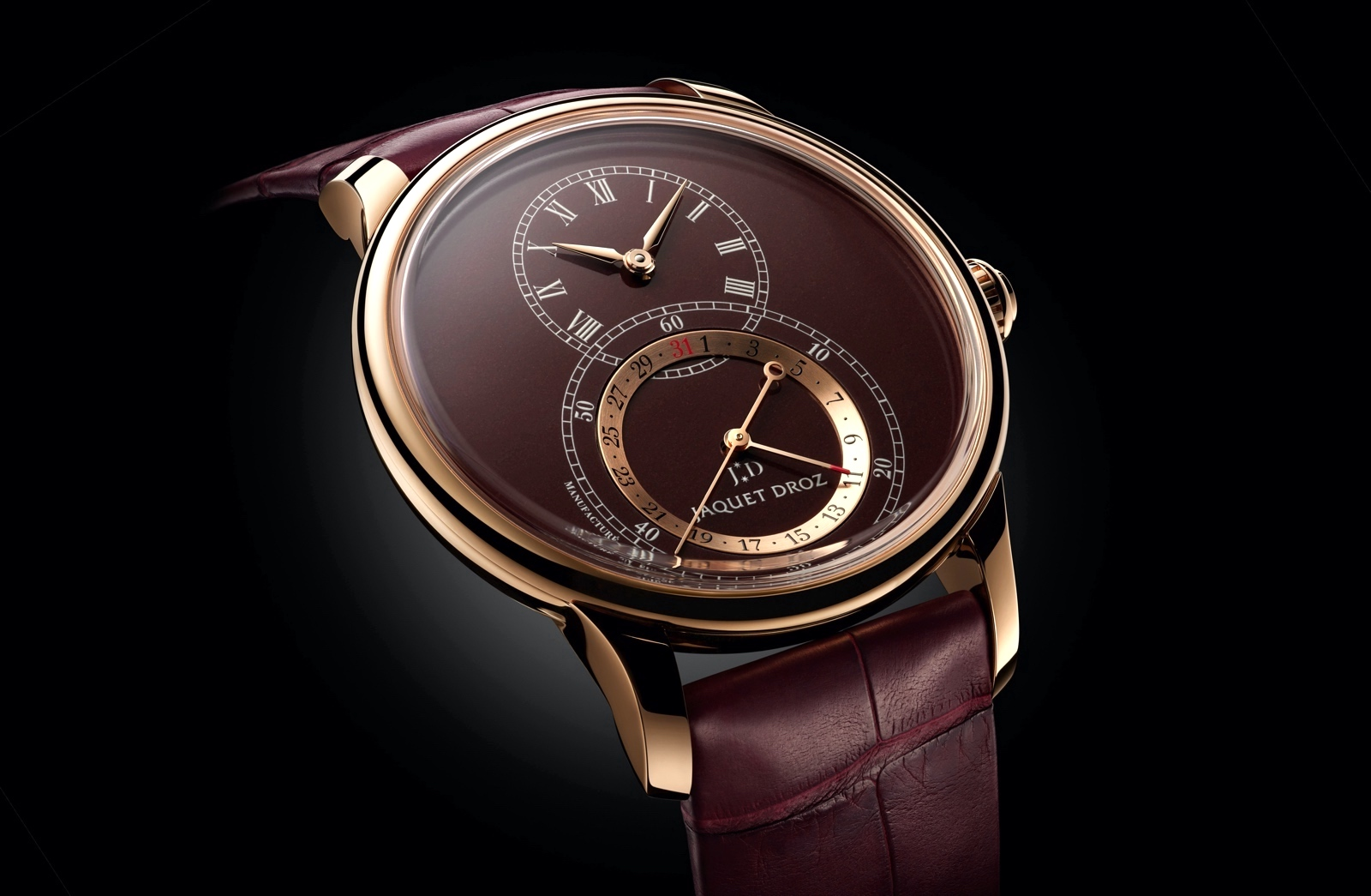Jaquet Droz Grande Seconde Quantième 41 - gold bordeaux