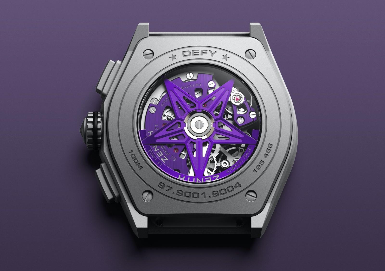 Zenith Defy 21 Ultraviolet - caseback
