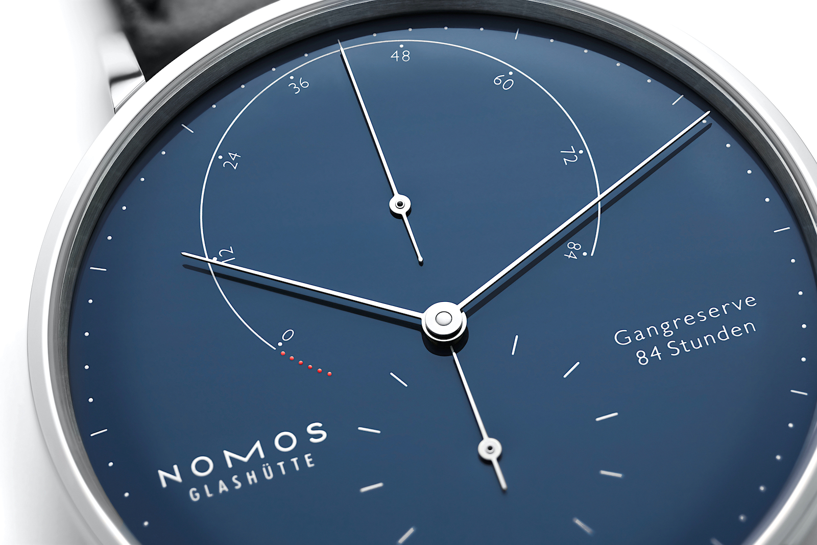 Nomos Lambda 175 Years Watchmaking Glashütte - blue dial detalle