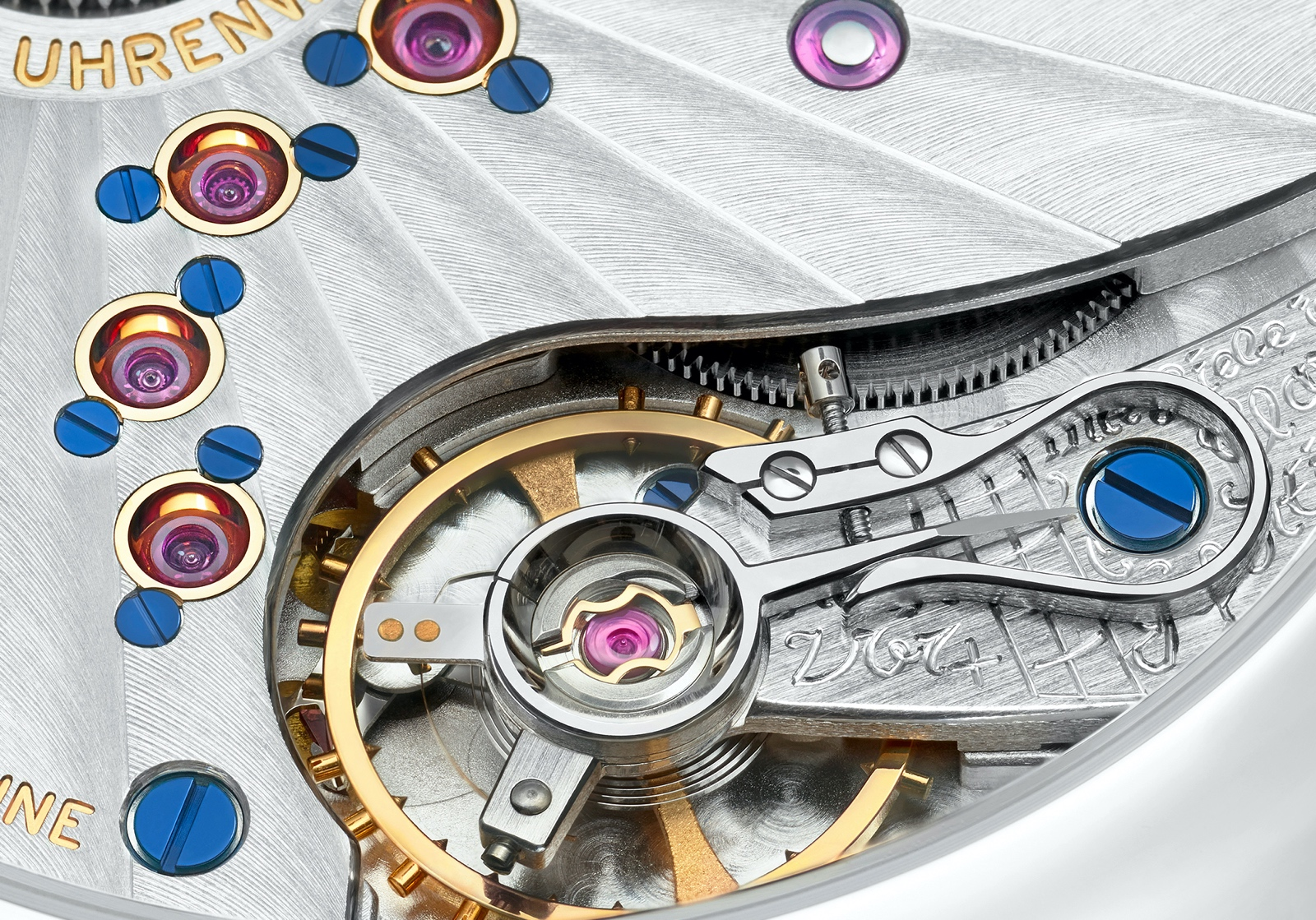 Nomos Lambda 175 Years Watchmaking Glashütte - calibre DUW 1001 detalle