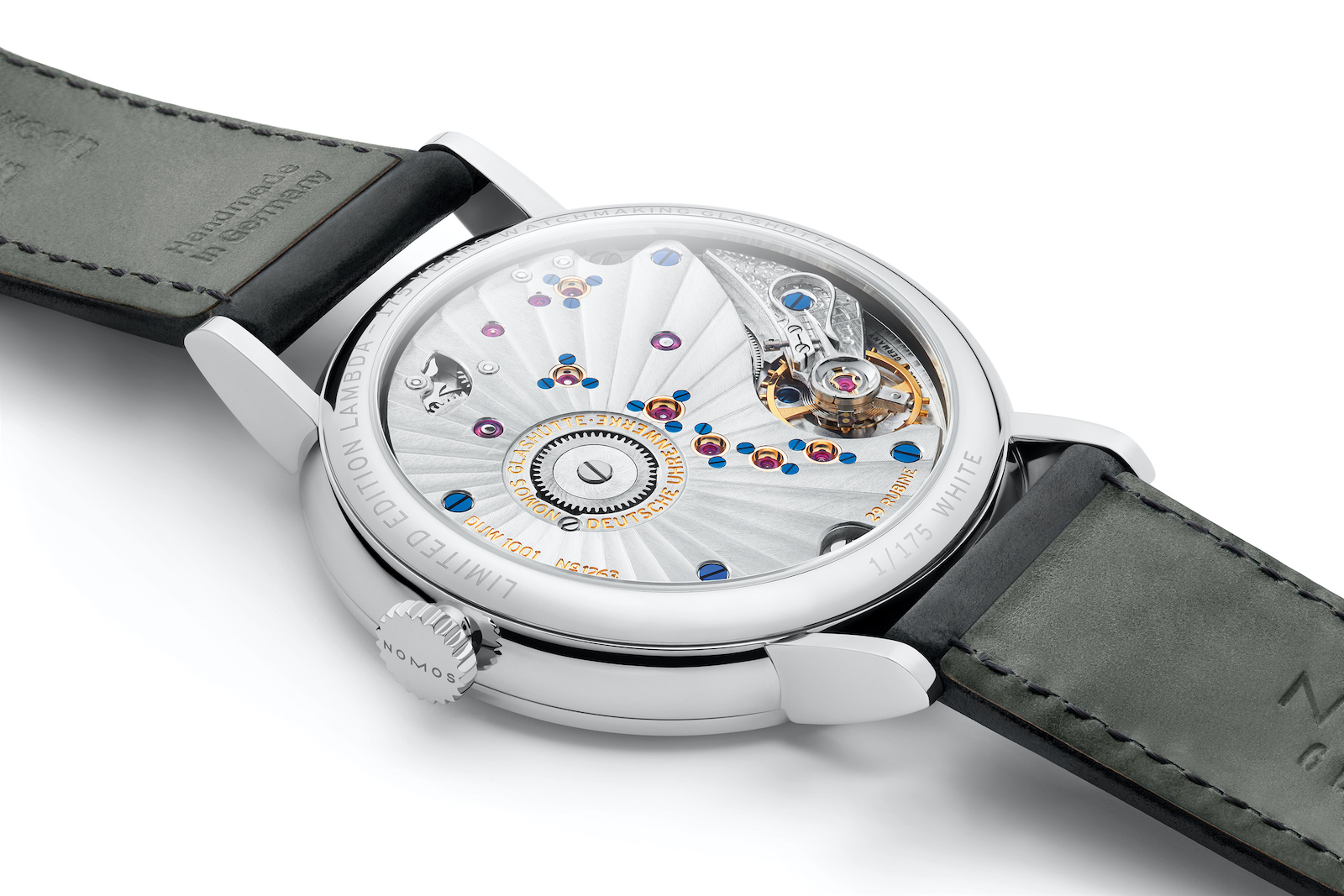 Nomos Lambda 175 Years Watchmaking Glashütte - white caseback