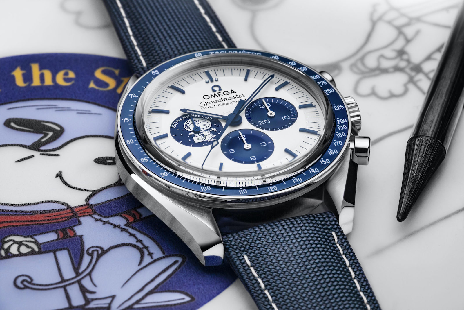 Omega Speedmaster Silver Snoopy Award 50th Anniversary - art 1