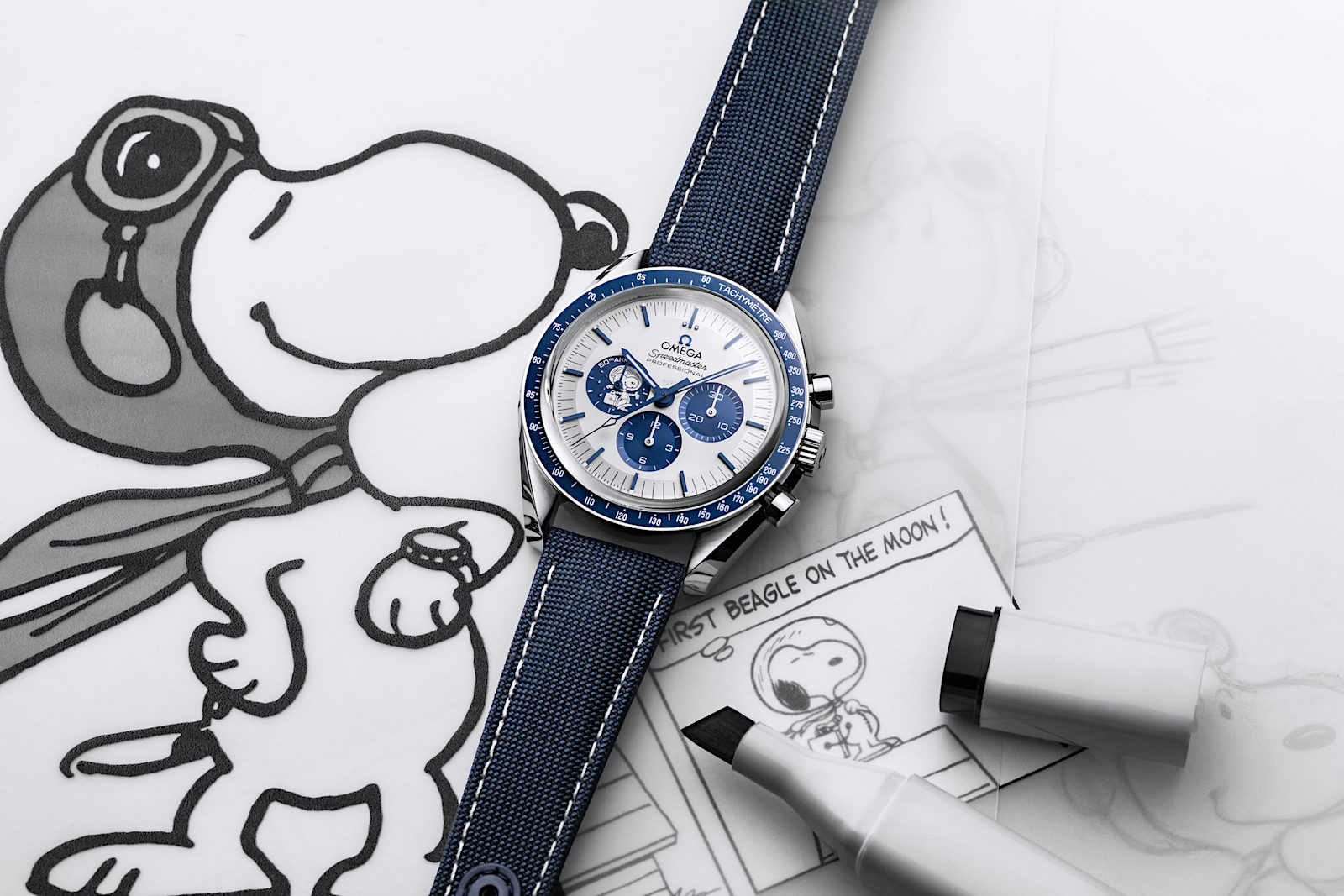 Omega Speedmaster Silver Snoopy Award 50th Anniversary - art 2
