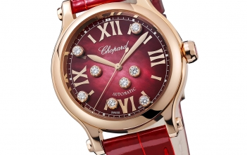 Chopard Happy Sport, en rojo y ocho diamantes