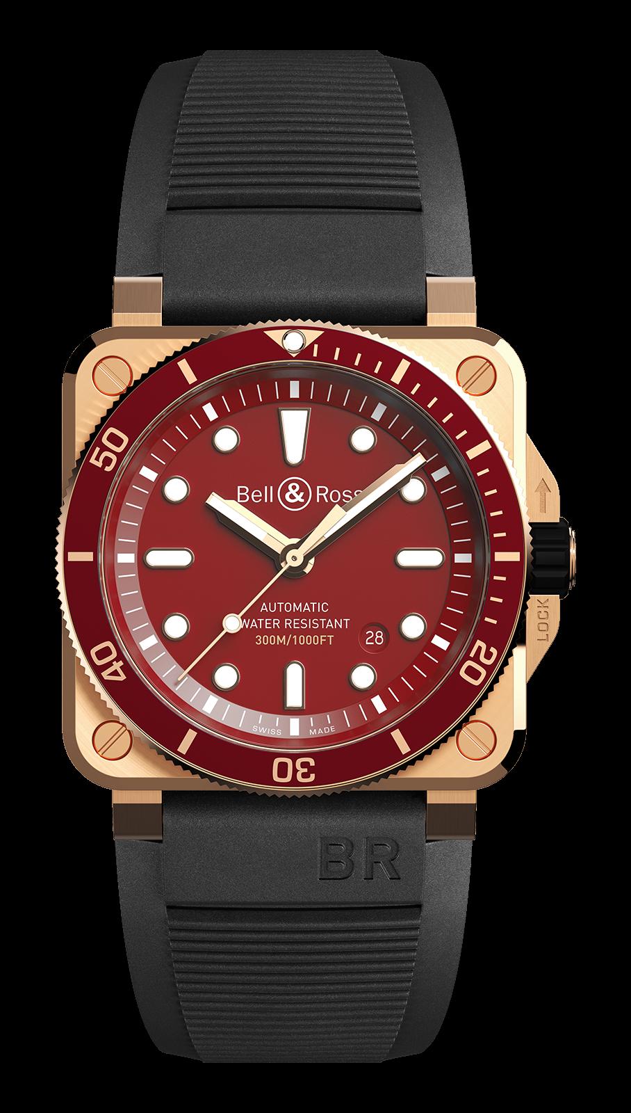 Bell & Ross BR 03-92 Diver Red Bronze correa caucho