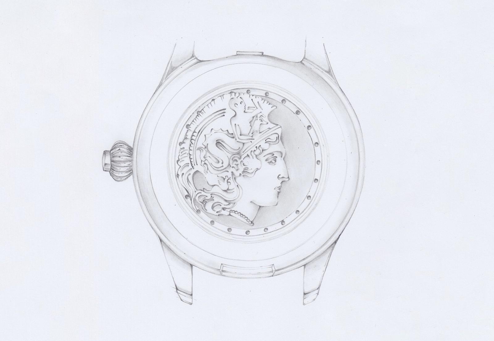 Montblanc 1858 Monopusher Chronograph Origins - caseback diosa Minerva