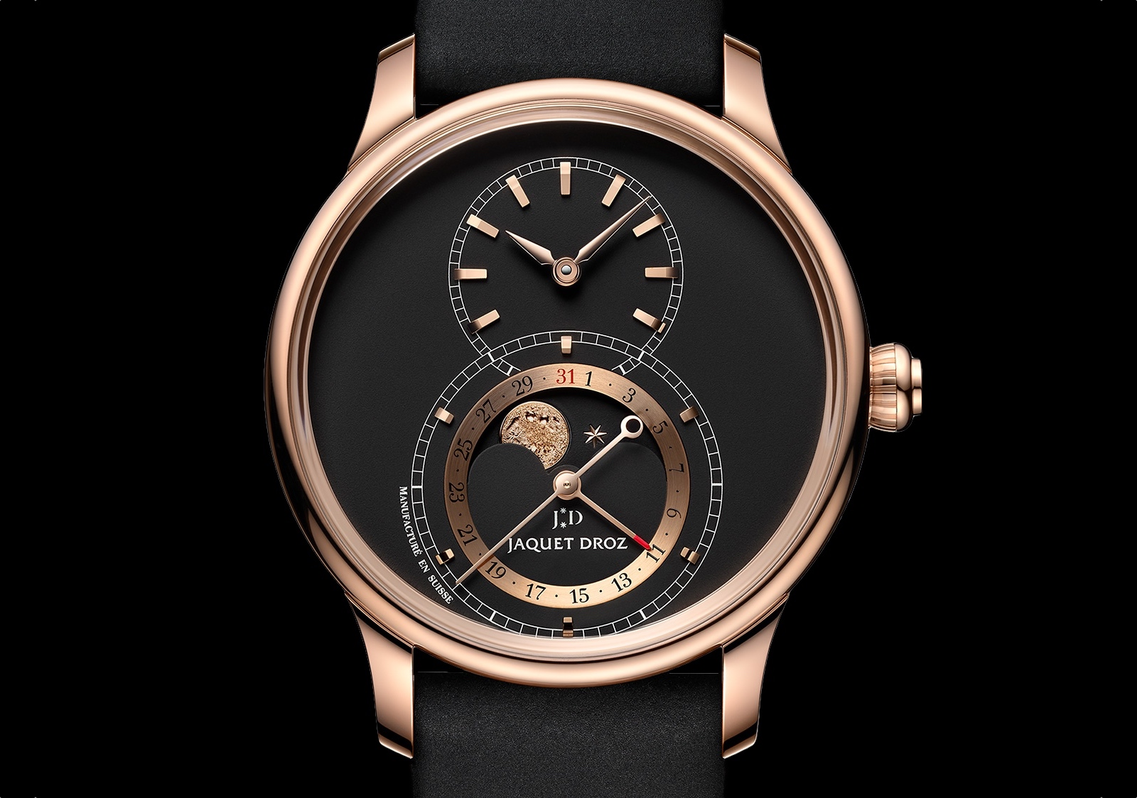 Jaquet Droz Grande Seconde Moon Anniversary Edition - gold black front