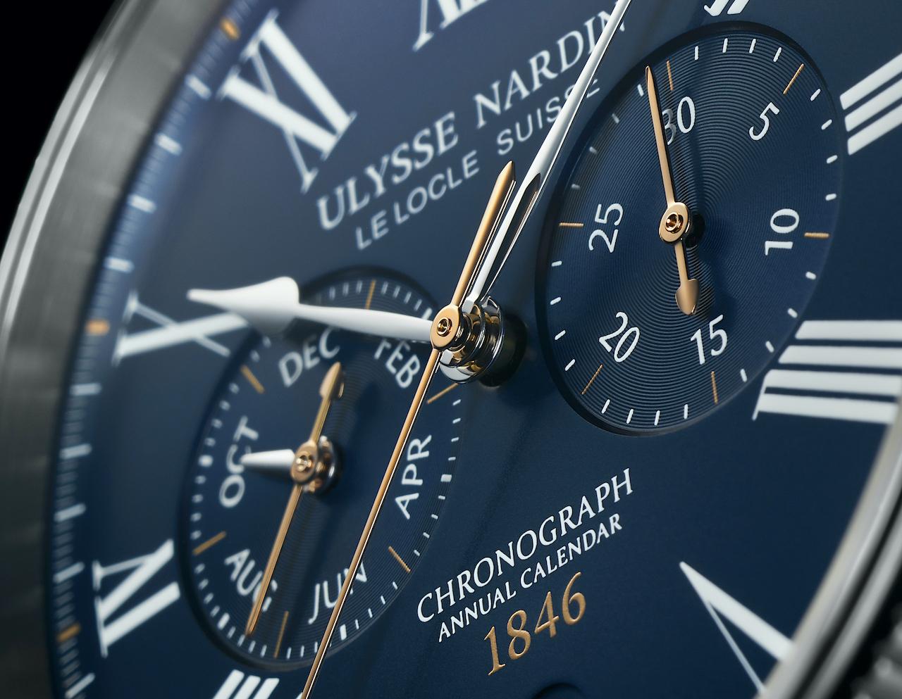 Ulysse Nardin en los Geneva Watch Days 2021 - Marine Torpilleur Chronopgraph Annual - esfera