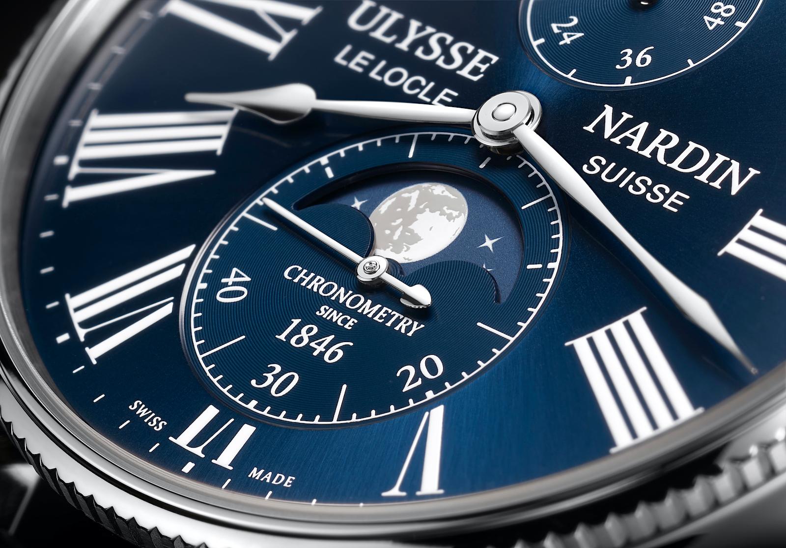 Ulysse Nardin Marine Torpilleur Moonphase - blue dial detail
