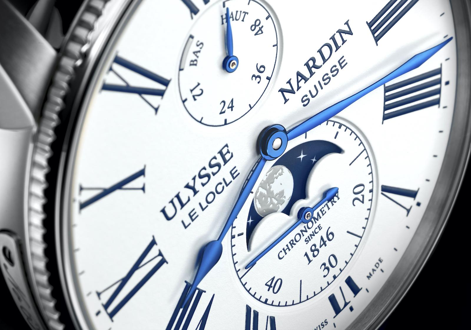 Ulysse Nardin Marine Torpilleur Moonphase - white dial detail